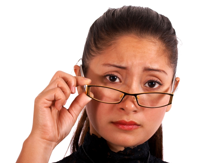 Worried Woman Wearing Glasses